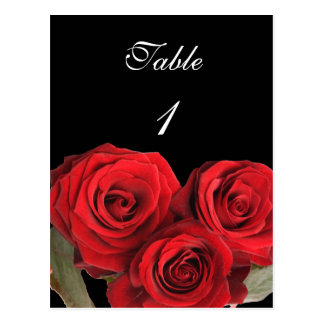 Table Number Card Red Rose Black