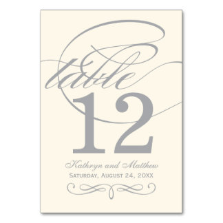 Table Number Card | Silver Calligraphy Design
