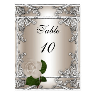 Table Number Card Wedding Silver Cream Rose Post Card