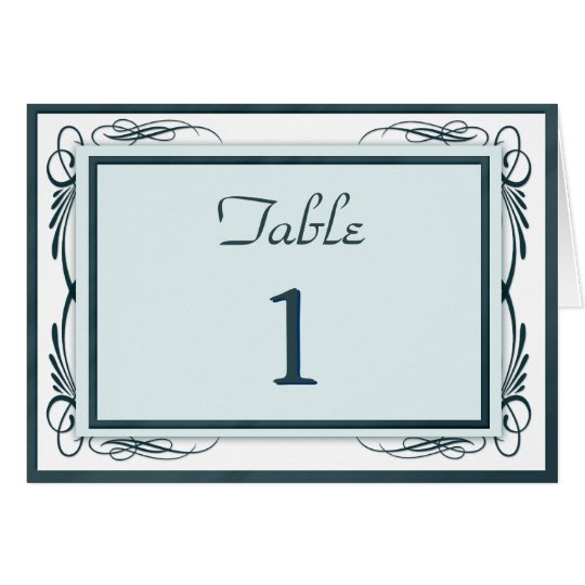 Table Number Card White with Blue Swirls