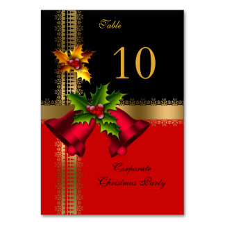 Table Number Cards Corporate Christmas Xmas Party