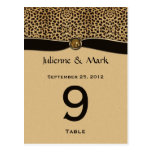 Table Number Cards Leopard Print FAUX Ribbon Jewel Post Cards