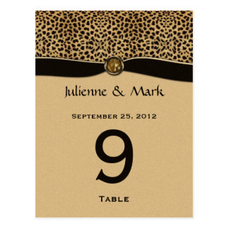 Table Number Cards Leopard Print FAUX Ribbon Jewel Postcard