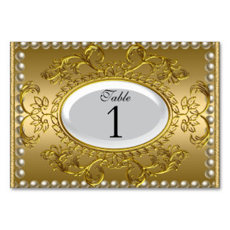Table Number Cards Royal White Gold