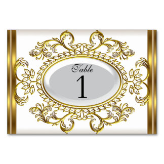Table Number Cards Royal White Gold Table Card