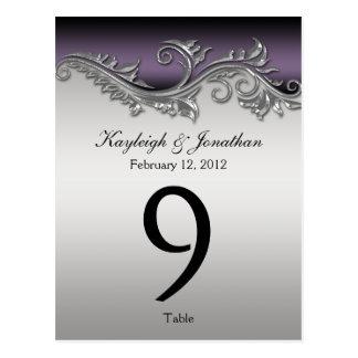 Table Number Cards Vintage Purple Black Silver