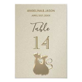 Table Number Cat Couple Golden Elegant Wedding
