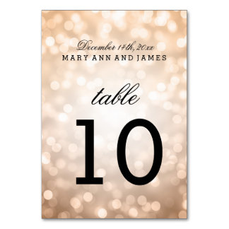 Table Number Copper Glitter Lights Table Card