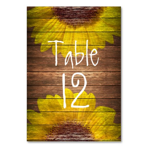 Table Number Country Sunflowers Rustic Brown Wood Table Cards