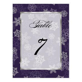 Table Number Eggplant White Snowflakes Postcard