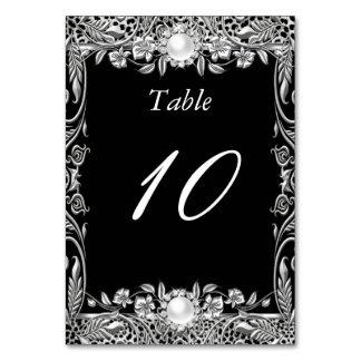 Table Number Elegant Leopard Black Silver Pearl