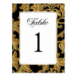Table Number Embossed Gold Damask Post Card