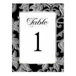 Table Number Embossed Silver Damask