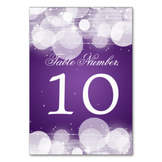 Table Number Glow & Sparkle Purple Table Card