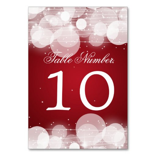 Table Number Glow & Sparkle Red Table Cards