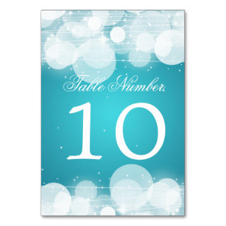 Table Number Glow & Sparkle Turquoise Table Cards