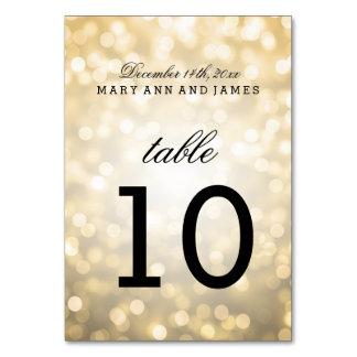 Table Number Gold Glitter Lights Table Cards