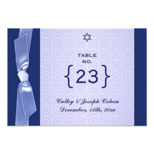 Table Number Jewish Ribbon Wedding Flat Card Personalized Invitations