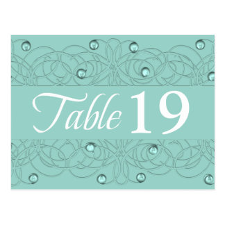 Table Number Lace and Pearl Aqua Mint Postcard