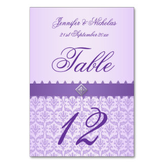 Table Number Lilac Damask Purple Ribbon Table Cards