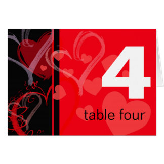 Table Number -  Mystic Heart - Black and Red Note Card