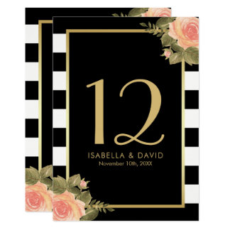 Table Number | Pink Floral Corners & Black Stripes Card