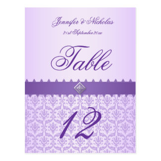 Table Number Postcard Lilac Damask Ribbon