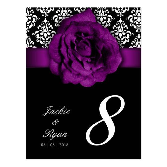 Table Number Postcard Purple Rose Damask Floral