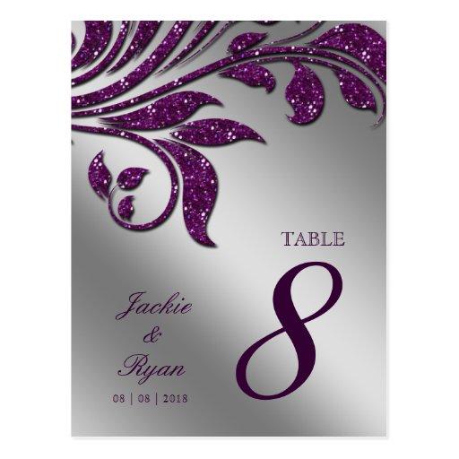 Table Number Postcard Purple Sparkle Leaf