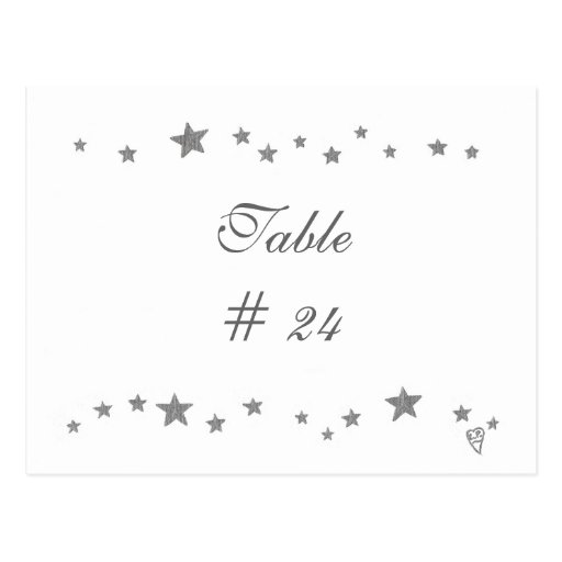 Table Number Postcards, silver stars border