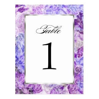 Table Number Purple Floral Damask Postcard