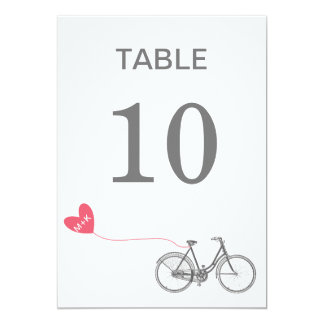 Table number romantic bike with initials