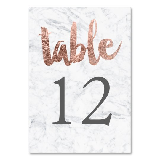 Table Number rose gold typography marble wedding Table