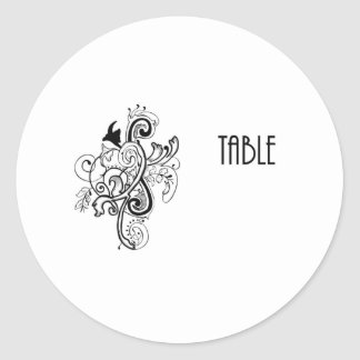 Table Number Round Sticker