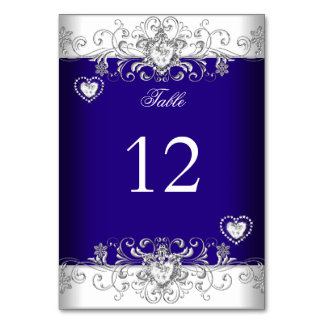 Table Number Royal Blue Wedding Silver Diamond