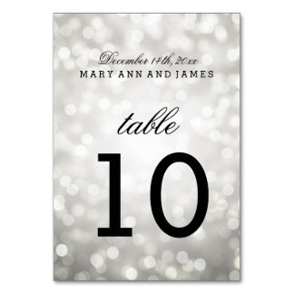 Table Number Silver Glitter Lights Table Card