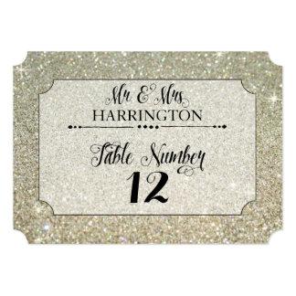 Table Number Silver Glitter Mr. & Mrs. Modern Fab 13 Cm X 18 Cm Invitation Card