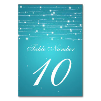 Table Number Sparkling Lines Turquoise Table Card