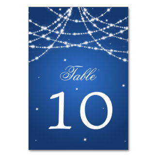 Table Number Sparkling String Blue Table Cards