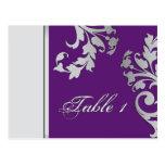 Table Number Wedding Card - Purple & Silver Postcard