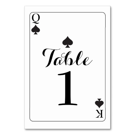 Table Number Wedding K Q Ace Spades Playing Cards Zazzlecouk