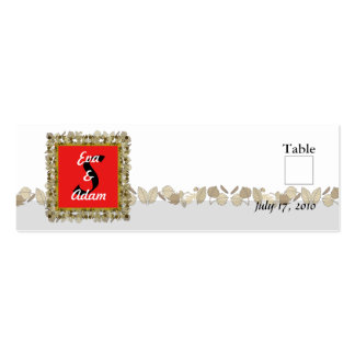 Table Number Wedding Red Gold Leaf Double-Sided Mini Business Cards (Pack Of 20)
