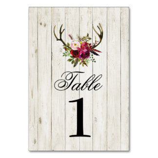 Table Numbers Wedding Antlers Stag Rustic Cards