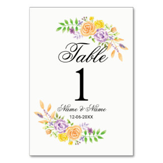 Table Numbers Wedding Purple Peach Floral Elegant