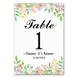 Table Numbers Wedding Watercolour Floral Elegant Table Cards