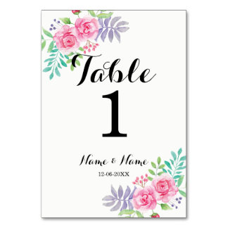 Table Numbers Wedding Watercolour Rose Flowers Table Cards
