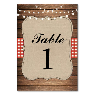 Table Numbers Wedding Wood Red Rustic Burlap Cards