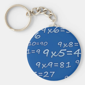 TABLE OF 9 - 9 TIMES TABLE - BLUE - BLUE BASIC ROUND BUTTON KEY RING