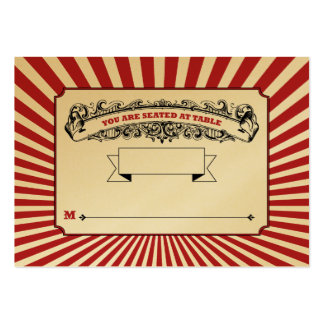 Table # Place Cards Circus Red Business Card