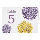 Table Place Cards Purple Yellow Blooms Wedding
